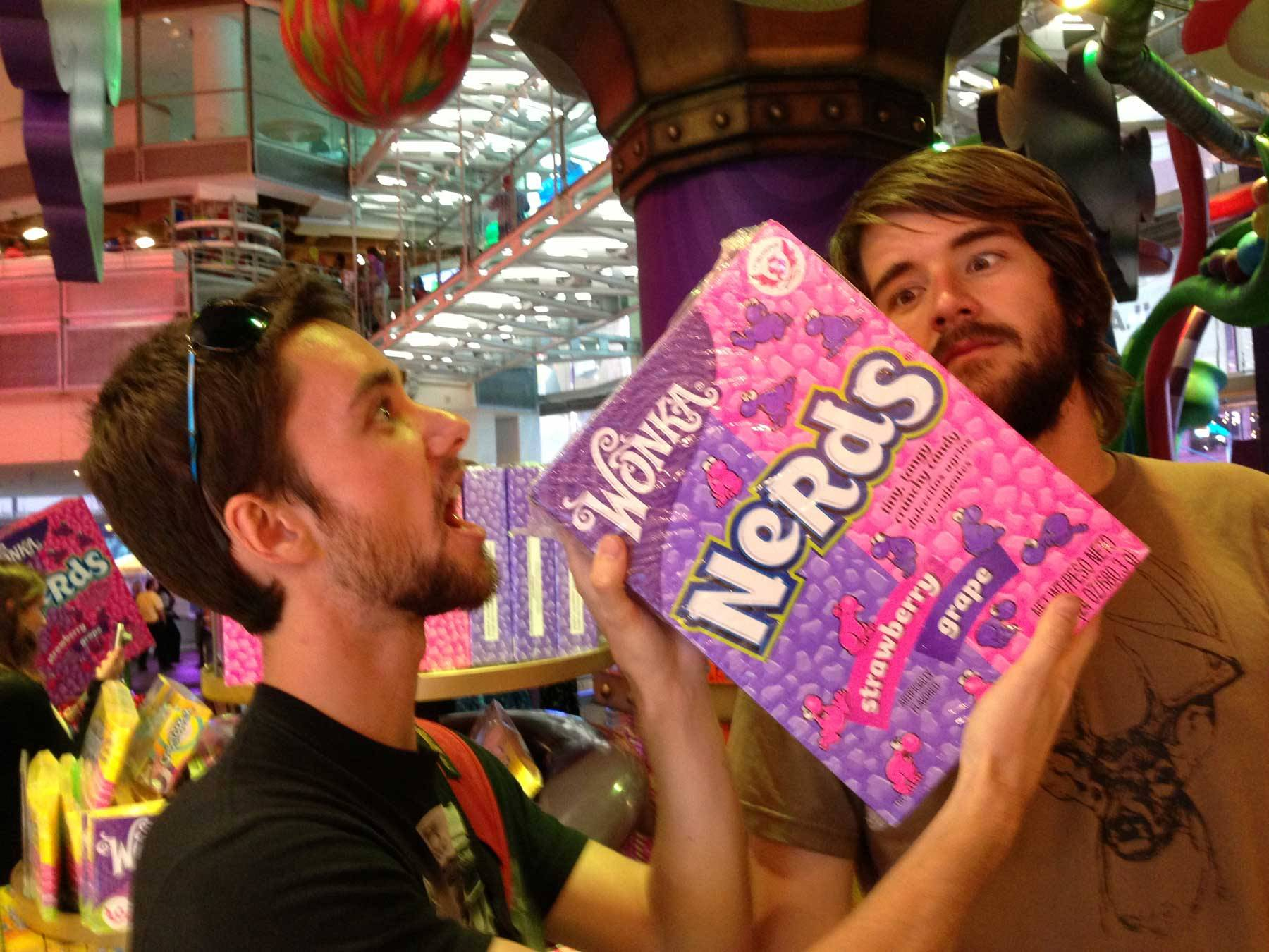 Jared with a giant Nerds pack