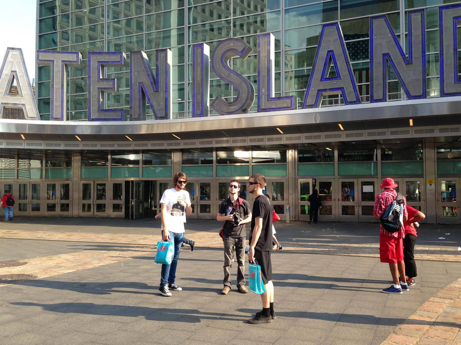 Butcher, Jared, and Irwin outside Staten Island Ferry terminal