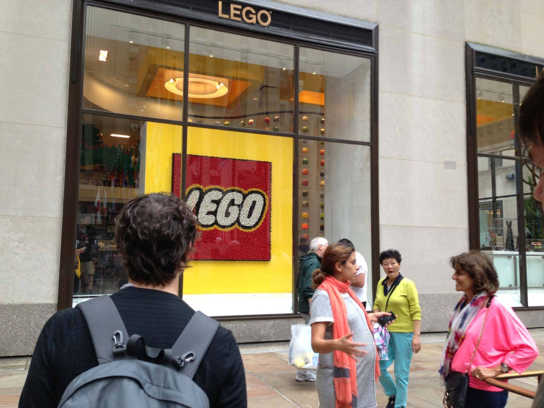 Richard approaching the LEGO store