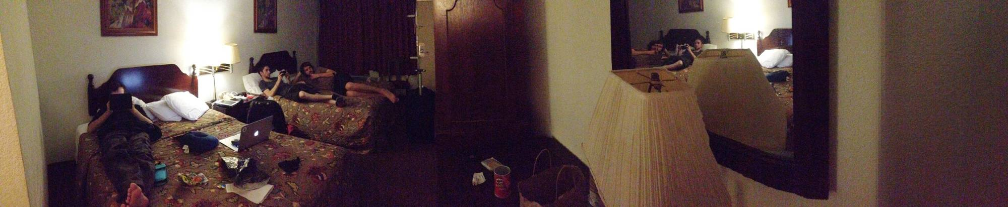 Panorama inside the dank hotel room