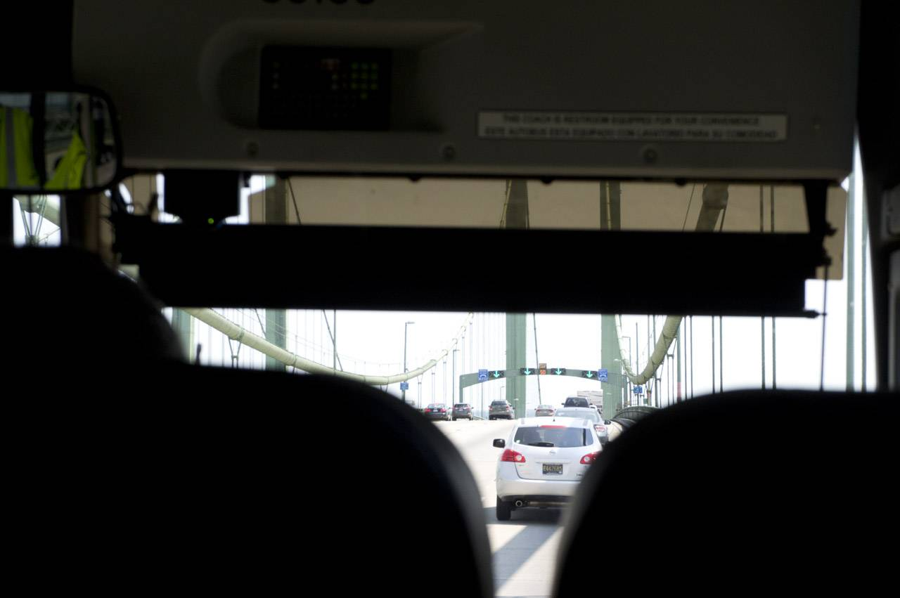 View of the bridge from inside the Greyhound coach
