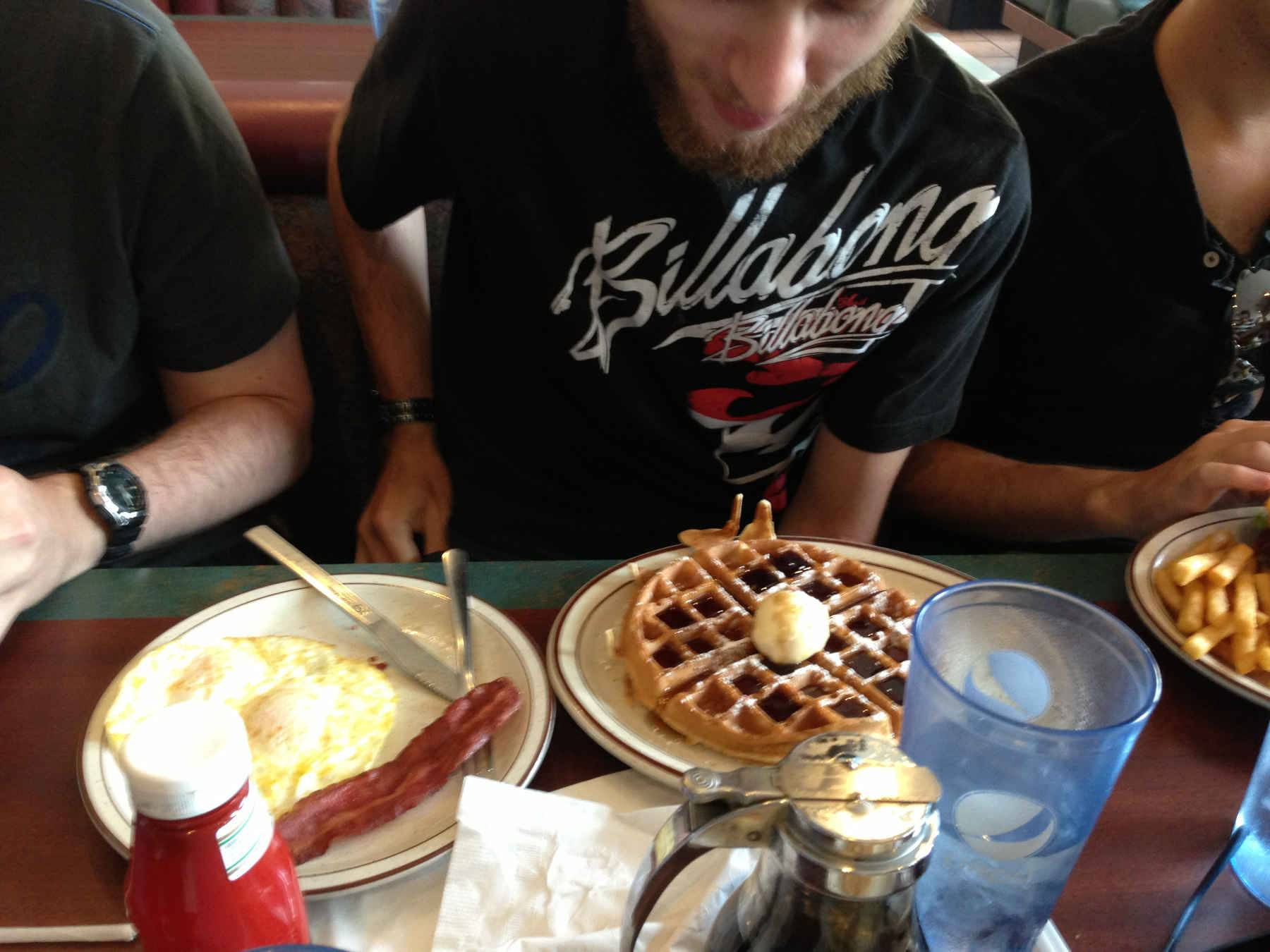 Irwin about to tuck into some excellent looking waffles