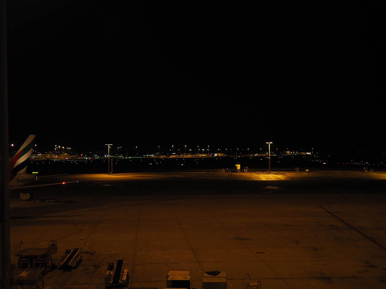 Airport tarmac before sunrise