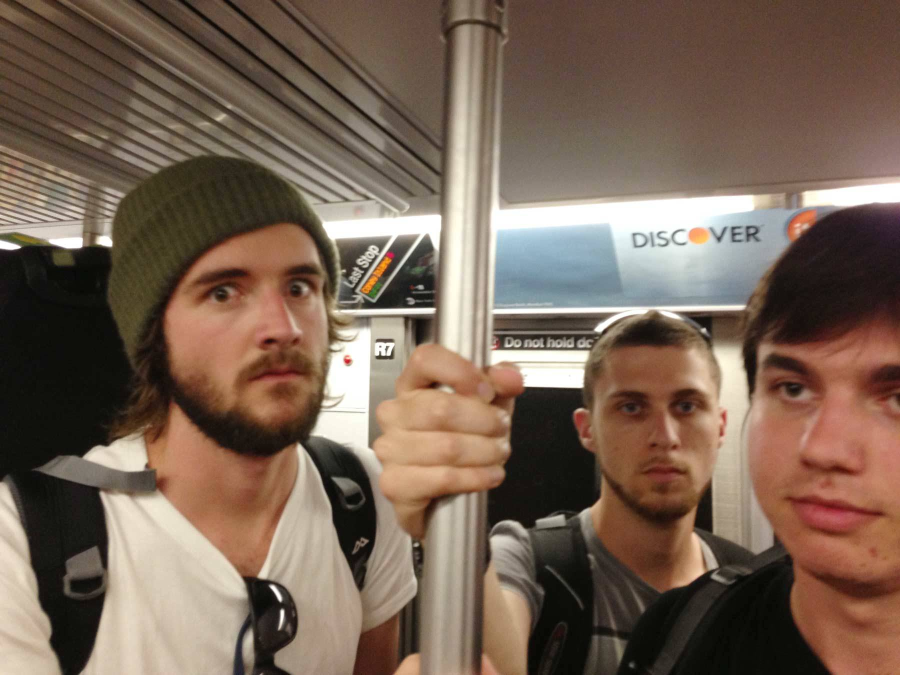 Butcher, Irwin, and Andrew on the train